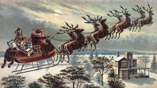 Santa Claus Sleigh and Reindeer tlg